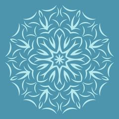 Round  flower pattern on blue background