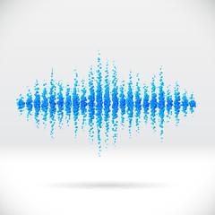 Sound waveform made of scattered balls