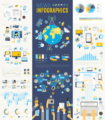 Wall Mural - News Infographic set with charts and other elements.
