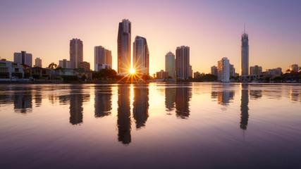 Zelfklevend Fotobehang Diepbruine Brisbane skyline, Australie