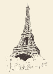 Eiffel Tower, Paris (France), vector illustration