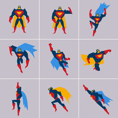 Superhero in Action. Silhouette Different Poses