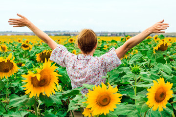 Woman in the sunflower field