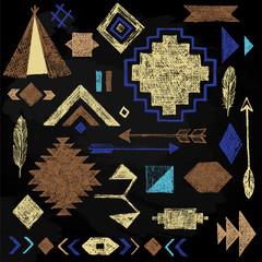 Hand drawn tribal elements set