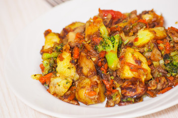 fried mixed vegetables with mushrooms