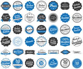 Button Siegel Premium Garantie Angebot Service Shop Logo blau