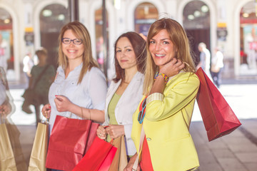 Happy Shopping Female Friends