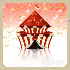 Retro greeting card with the circus and confetti. Entertainment,