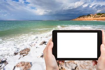 photo of salt beach on Dead Sea coast, Jordan