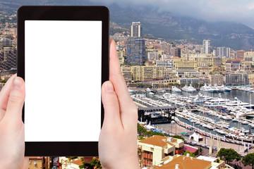 tourist photographs panorama of Monaco city