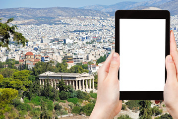 tourist photographs Athens city with Temple