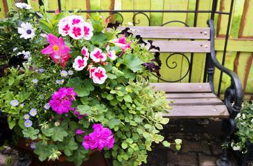 Balkonblumen mit Gartenbank