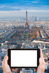 tourist photograph Eiffel Tower and Paris panorama