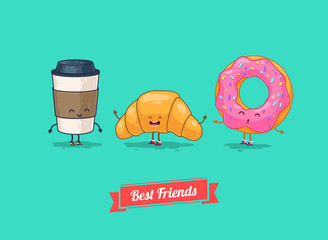 Vector funny cartoon. Funny coffee, croissant, donut. Best