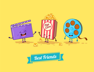 Vector funny cartoon. Funny popcorn, clapboard and film. Best
