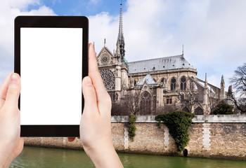 tourist photographs cathedral Notre-Dame de Paris