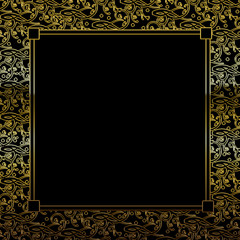 Fancy Decorative square Background - Black/Gold with Insert