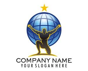 atlas globe bodybuilding logo image vector