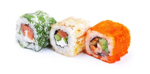 Three sushi rolls
