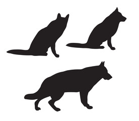 black silhouettes of German Shepherd dog