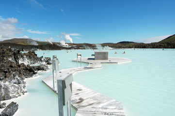 The Blue Lagoon geothermal bath resort in Iceland.