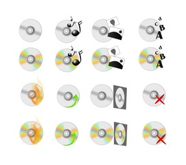 CD discs icons set