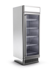 Market refrigerator Isolated on White - 3d illustration