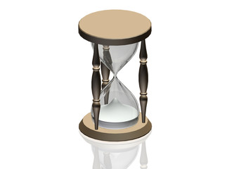 Hourglass 3d illustration - time concept