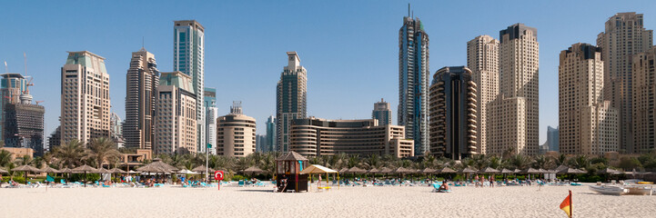 Dubai Marina, skyline from the beach