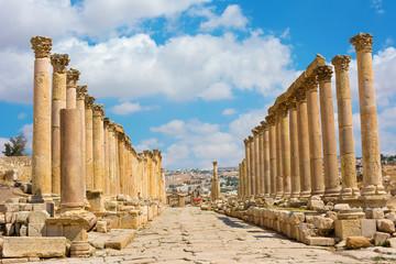 The Cardo Maximus street in Jerash ruins Jordan