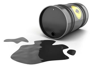 Oil barrel spill puddle
