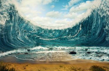 Printed roller blinds Water Huge waves