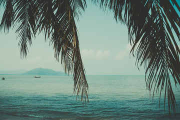 Retro stylized palm leaf and tropical beach