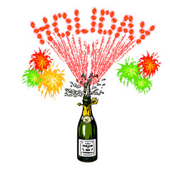 bottle of champagne and holiday inscription-firework
