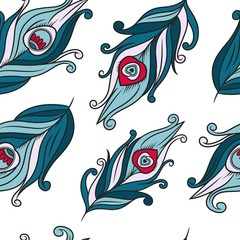 Peacock feathers vector pattern