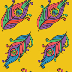 Peacock feathers vector pattern.