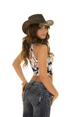 woman in floral shirt cowgirl back