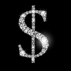 Abstract Luxury Black Diamond Dollar Sign Vector Illustration