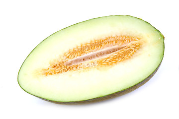 Half a melon on a white background. Piel de sapo