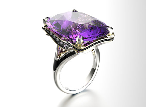 Ring with Amethyst. Jewelry background