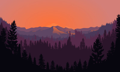 Forest Mountain Range Scenery at Sunset