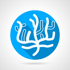 Coral flat blue round vector icon