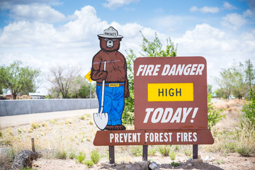 Fire Danger High Today. Prevent forest fires.