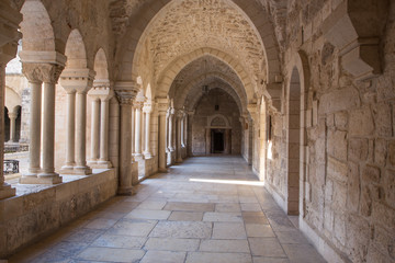 Bethlehem - gothic corridor of atrium at St. Catharine church.