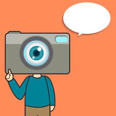 Camera man talking