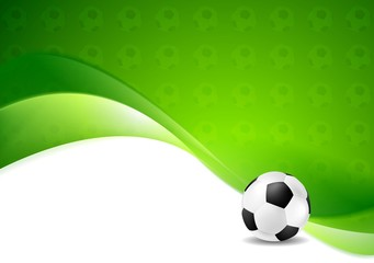 Green wavy soccer texture background with ball