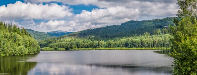 Obraz Mountain lake between forests, Ponad - fototapety do salonu