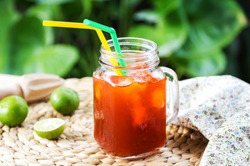 Thai Ice tea with lime