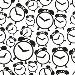 alarm clock black and white icons seamless pattern eps10