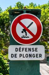Panneau défense de plonger
